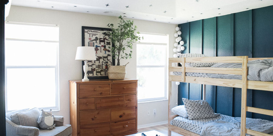Teal board and batten wall - accent wall - star stamped ceiling in boys shared room-50