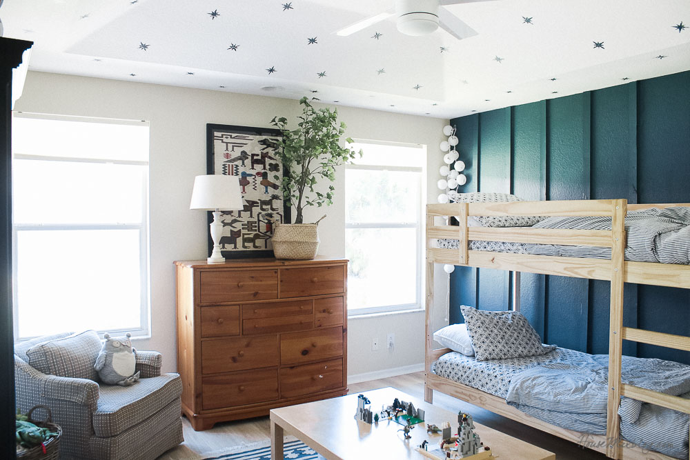 Teal board and batten wall - accent wall - star stamped ceiling in boys shared room
