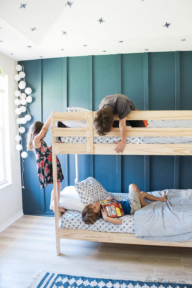 blue green board and batten wall in boys shared room house mix rh housemixblog com