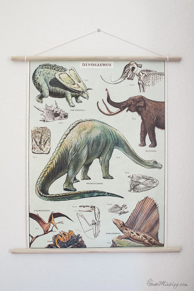 Vintage looking dinosaur poster - art for kid rooms