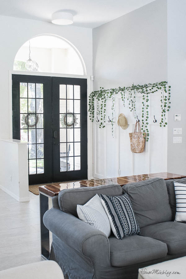 Painting French doors black and super cheap black and white pillows