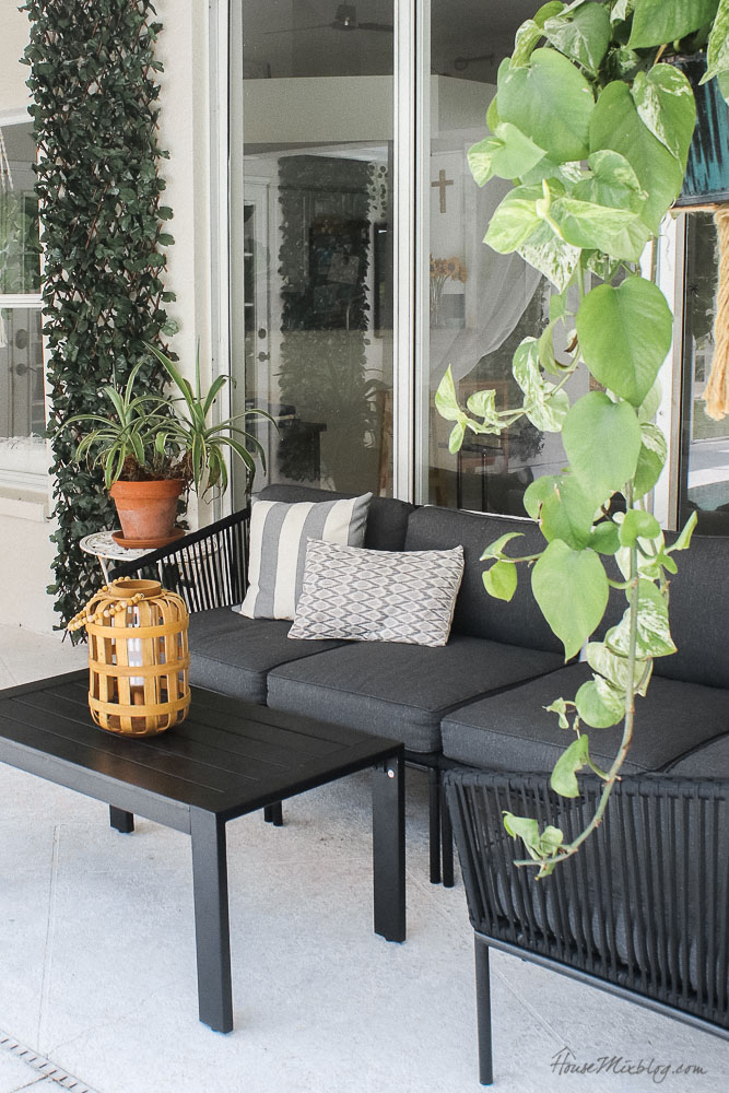 Patio, pool and lanai decor ideas on a budget- 700 dollar gray and black patio set