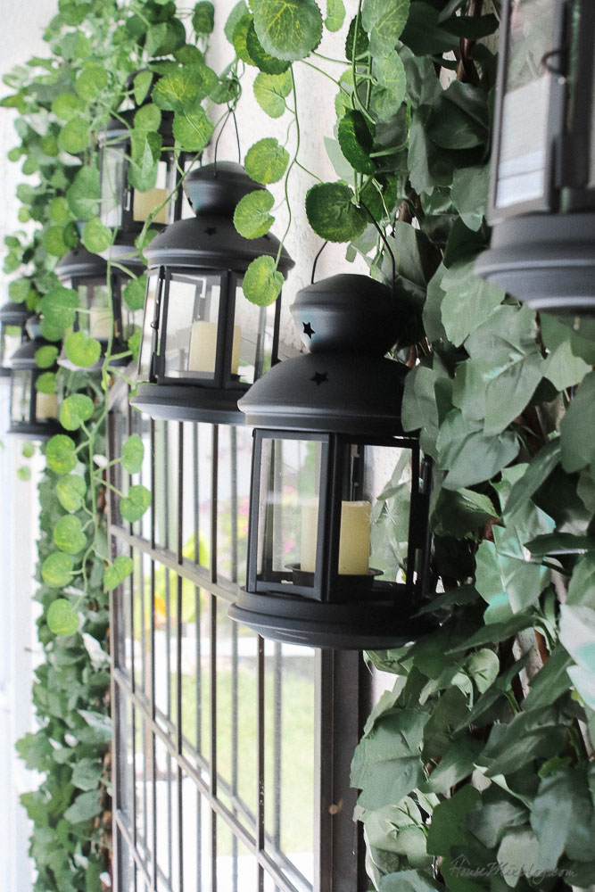 Patio, pool and lanai decor ideas on a budget-Ikea lanterns with remote control candles