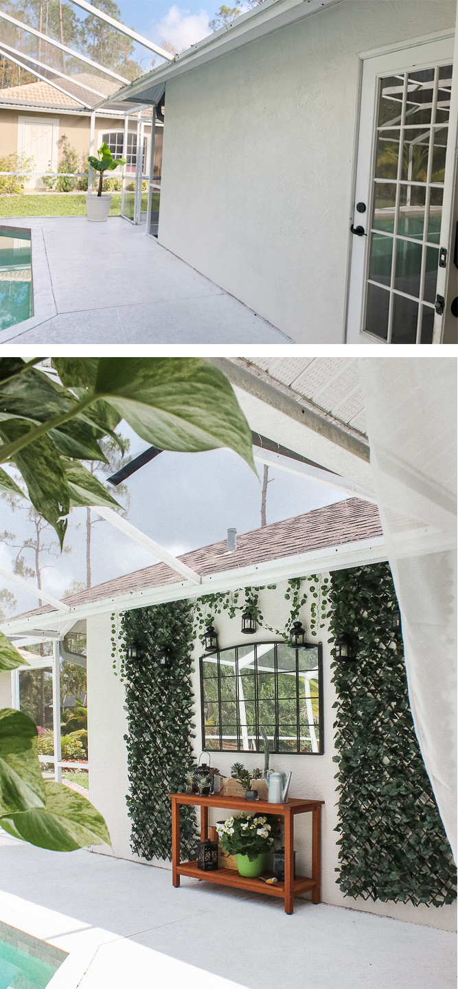 Patio, pool and lanai decor ideas on a budget-blank wall ideas for outside decor - faux ivy screens with mirror and console or potting table