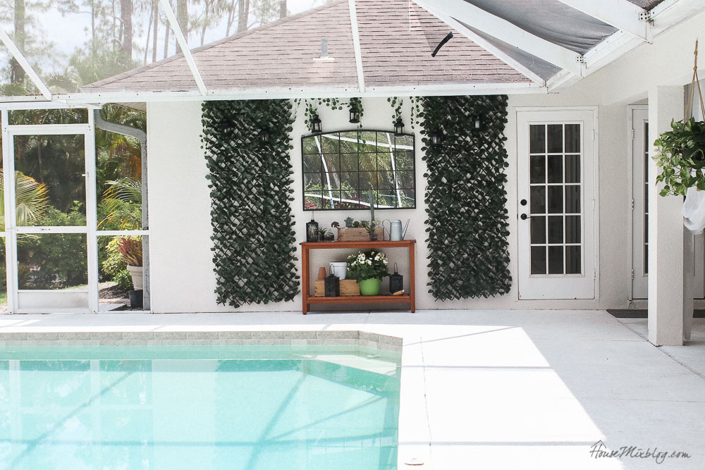 Patio, pool and lanai decor ideas on a budget-blank wall solutions outside - mirror and console table with faux ivy screens