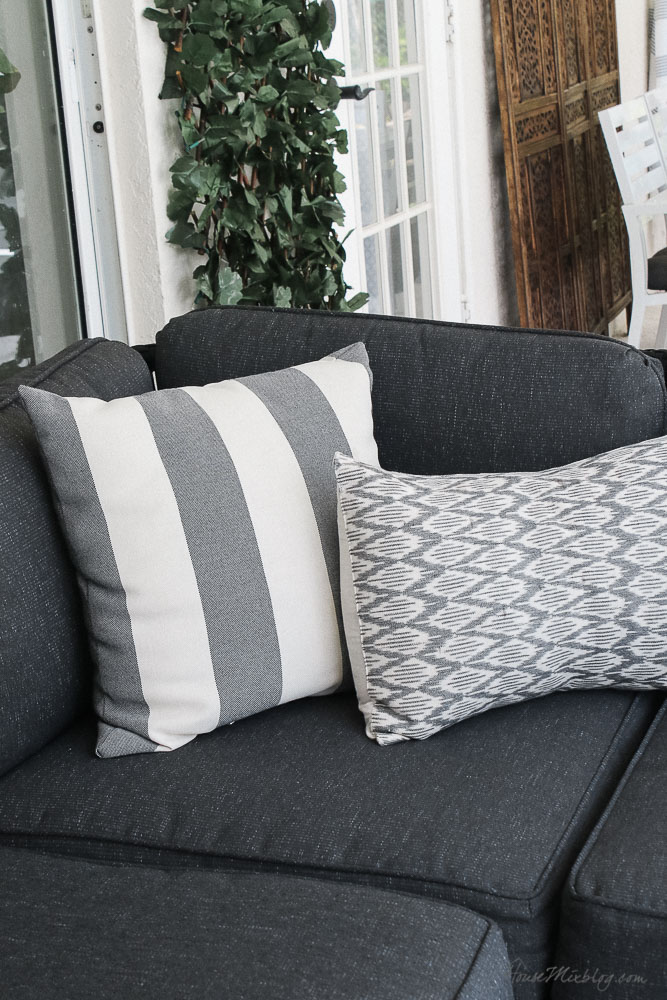 Patio, pool and lanai decor ideas on a budget-gray and white affordable outdoor pillows