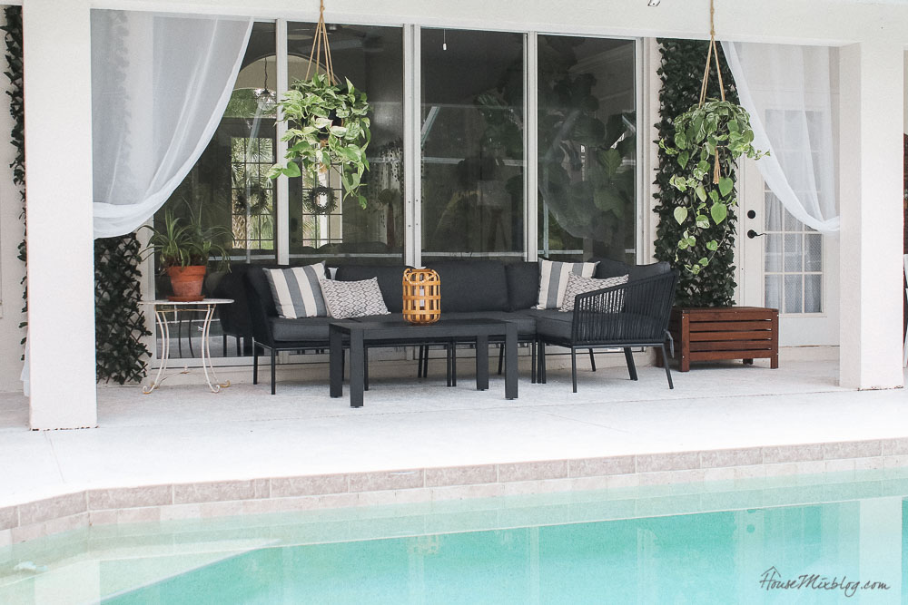 Patio, pool and lanai decor ideas on a budget- inexpensive furniture and ideas to make your patio feel like a resort