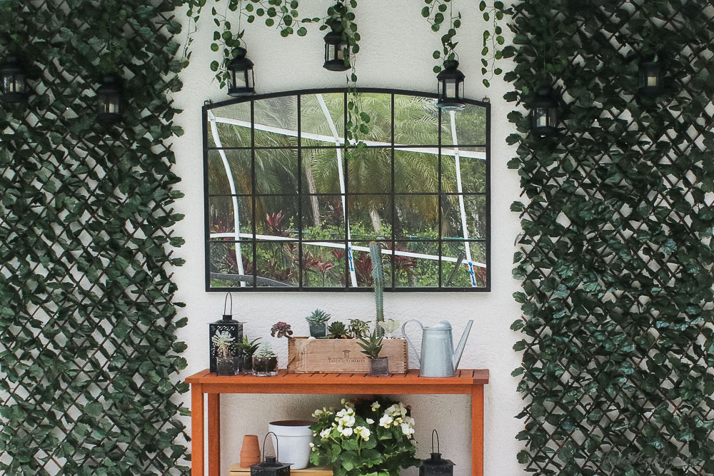 Patio, pool and lanai decor ideas on a budget-iron mirror for outside - potting bench styling