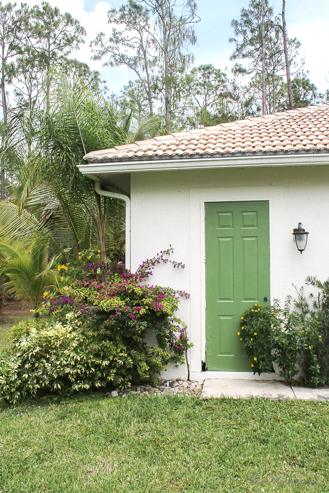 Patio, pool and lanai decor ideas on a budget- perfect color green door - courtyard green