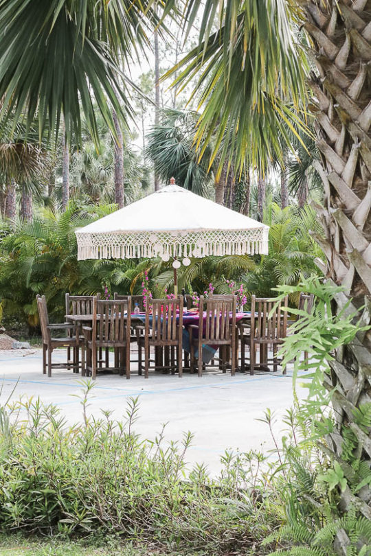 Table setting outside - Outdoor dining in hot pink and purple-world market outdoor umbrella with fringe