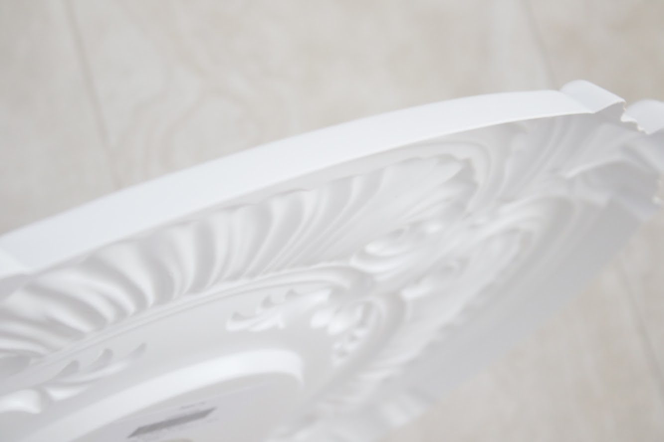inexpensive plastic ceiling medallion adds instant character and detail