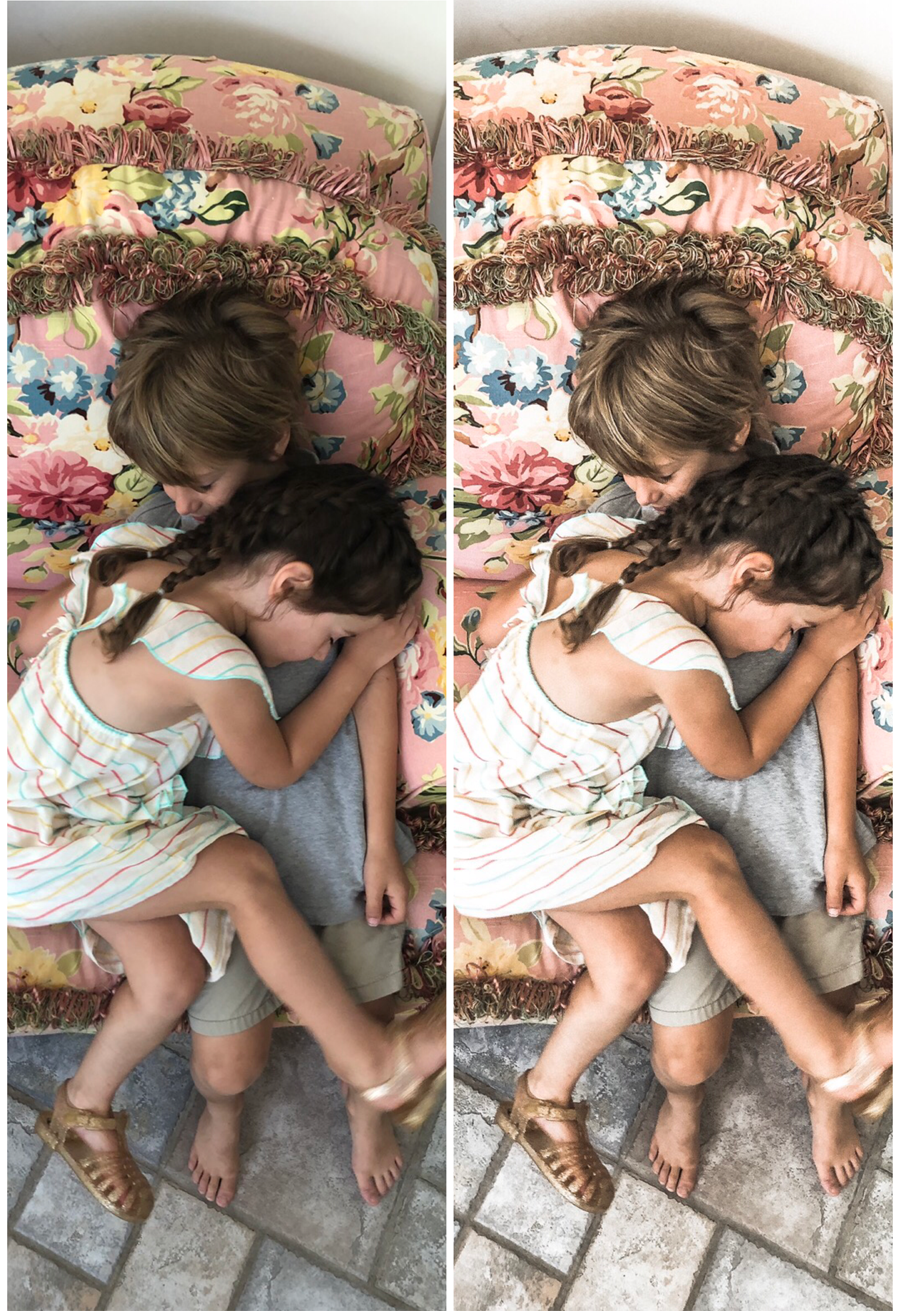 Lightroom preset for phone photos - tan, pink and blue tones - House Mix Blog 1