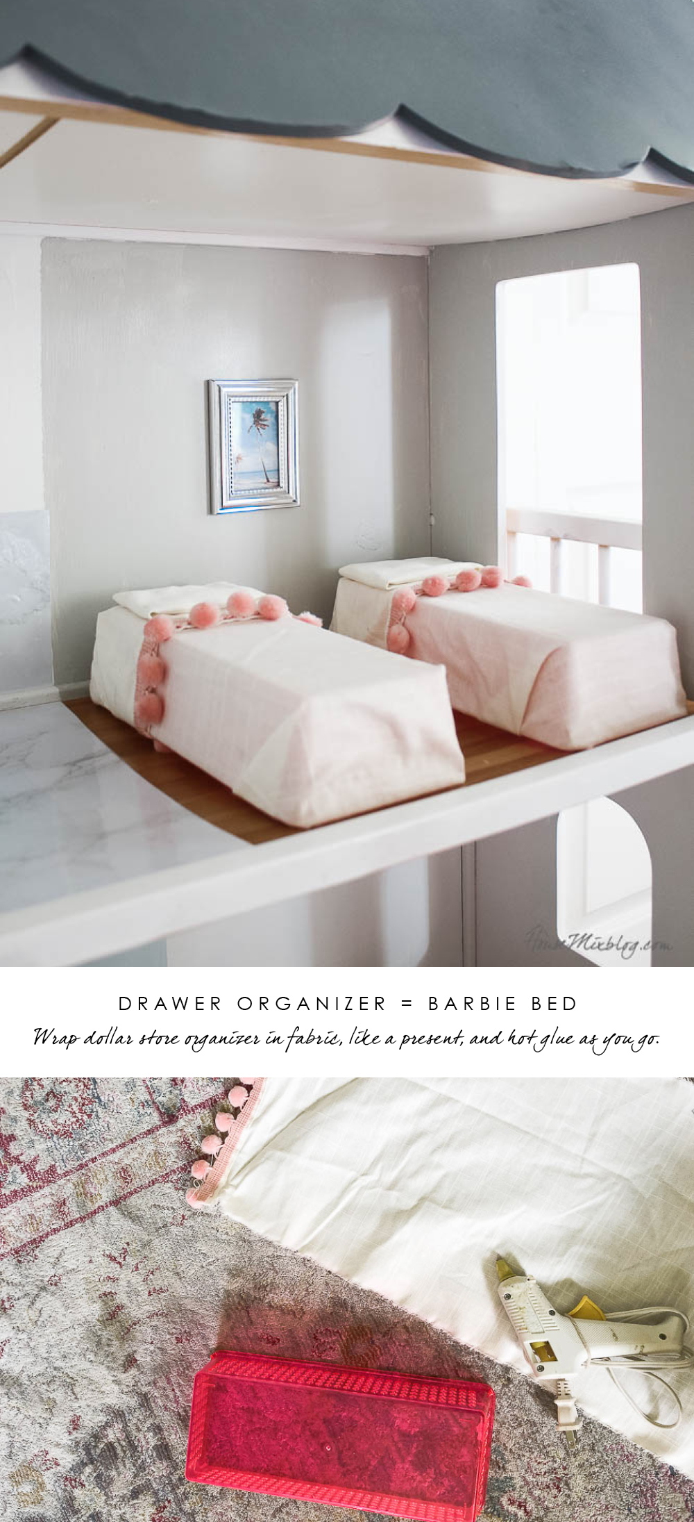 Barbie DIY furniture hacks - Doll bed from drawer organizer
