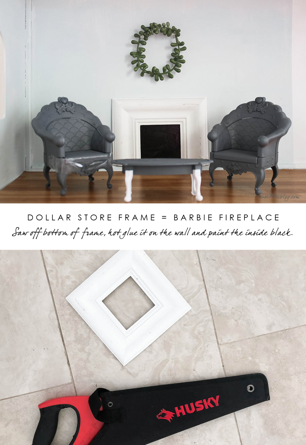Barbie DIY furniture hacks - Doll fireplace from a dollar store frame