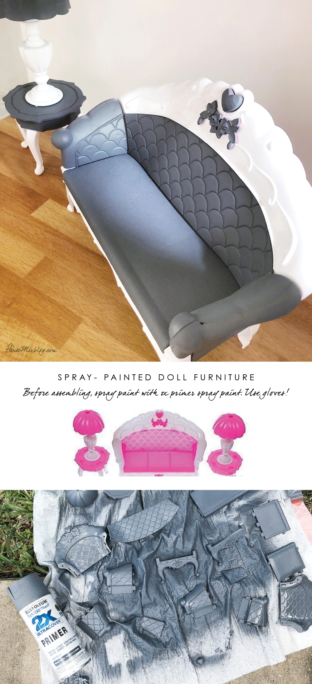 Barbie DIY furniture hacks - spray paint cheap doll furniture with this paint