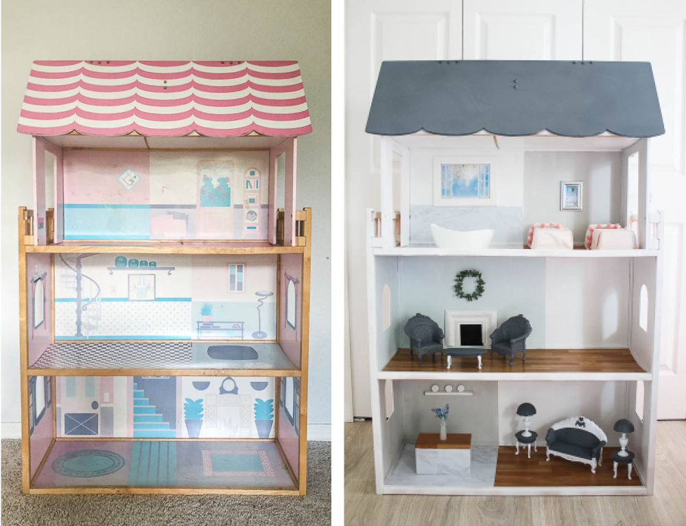 Before and after Barbie doll house makeover - spray paint and adhesive paper with DIY furniture
