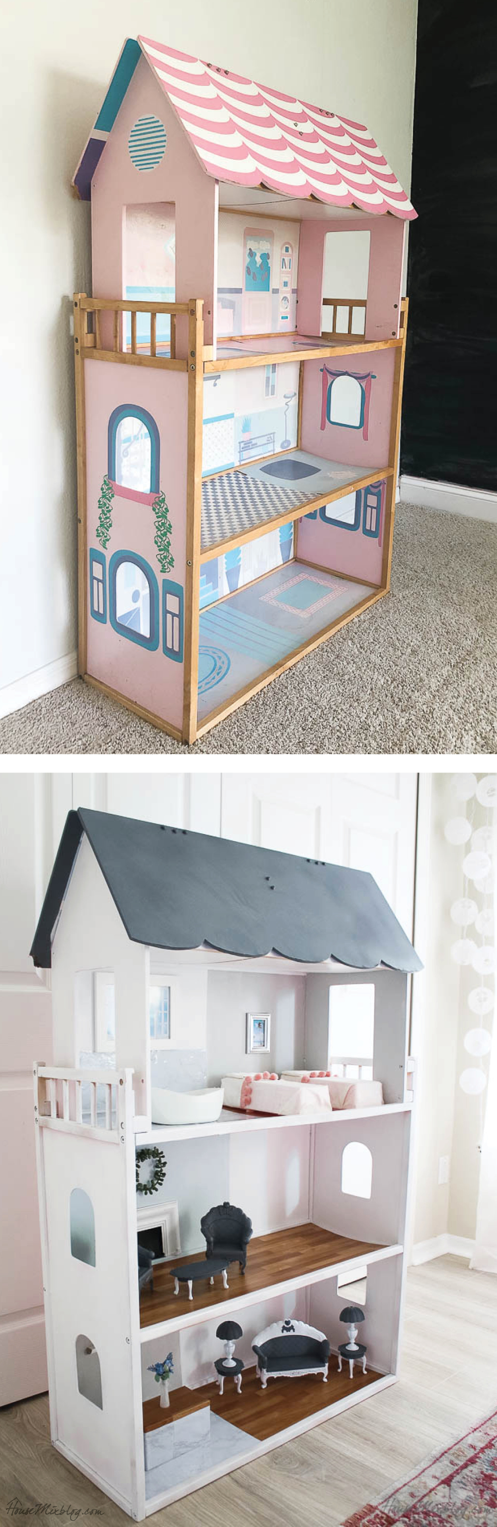 Before and after Barbie doll house makeover - spray paint and contact paper and DIY furniture.jpg