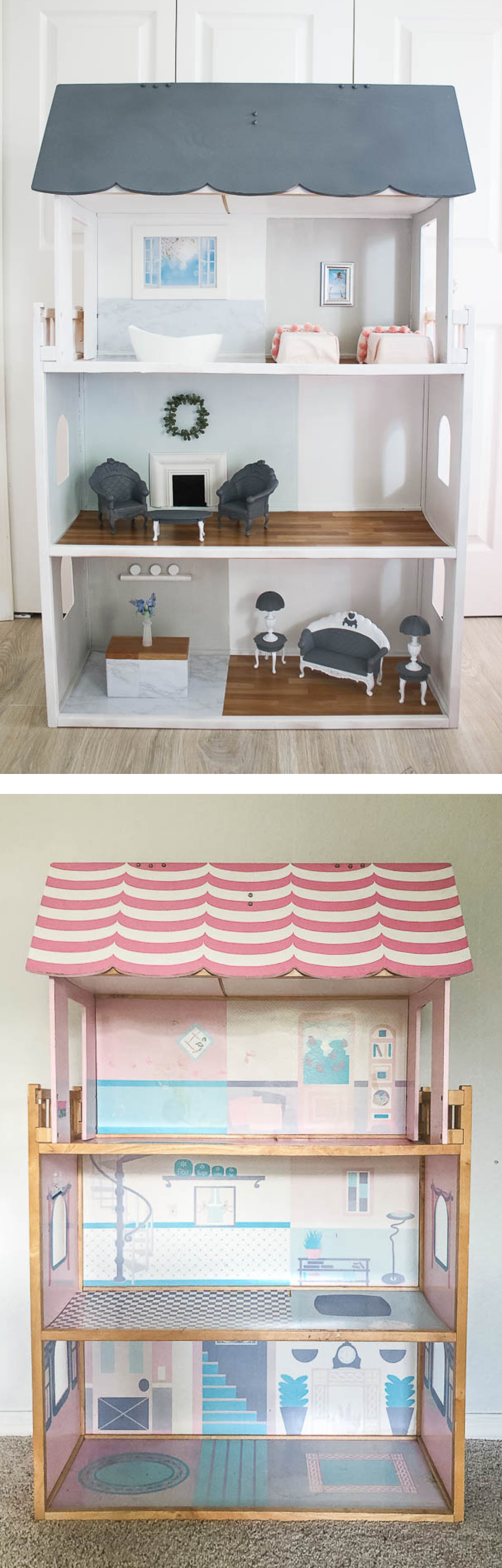 Before and after Barbie doll house makeover - spray paint and contact paper with DIY furniture