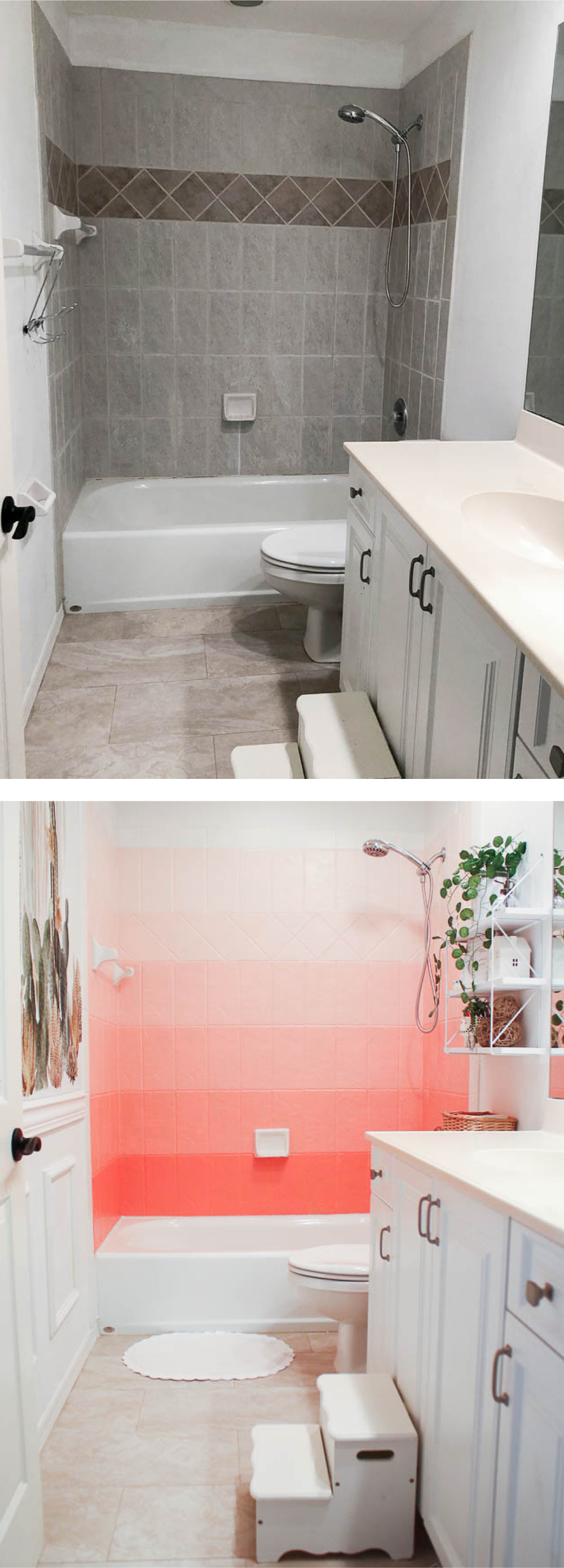 Before and after ombre painted shower tile DIY - how to paint shower tile
