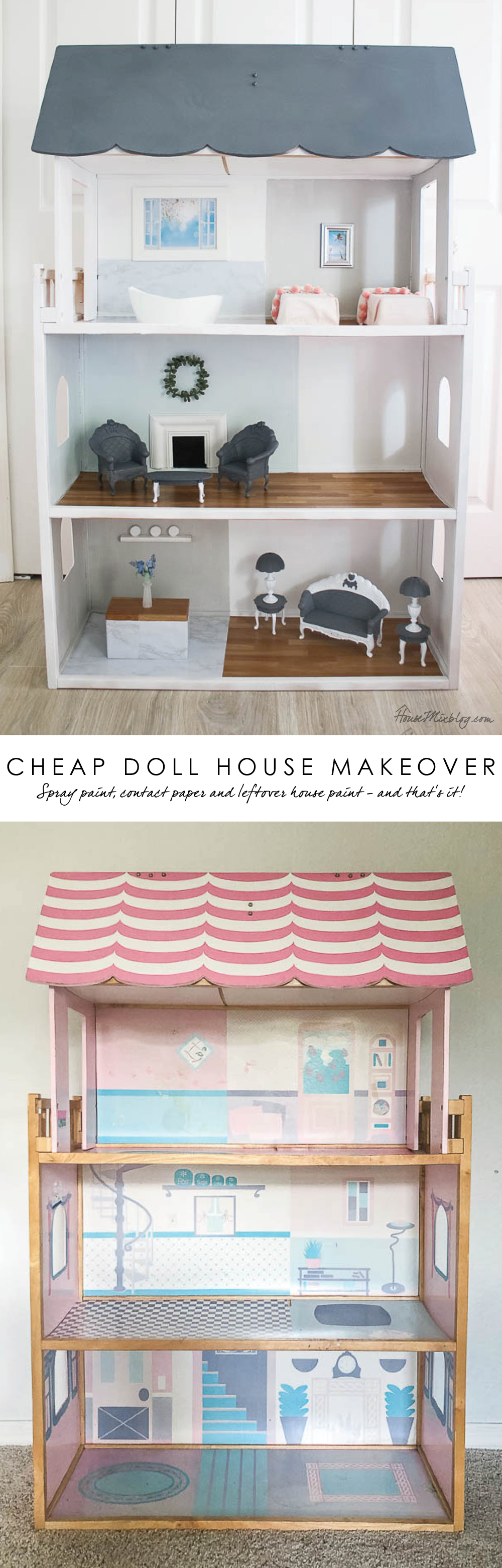 Cheap doll house makeover with spray paint and contact paper