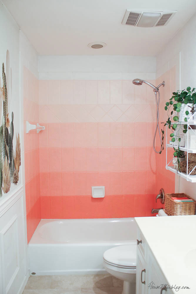 Diy Painted Coral Ombre Shower Tile House Mix