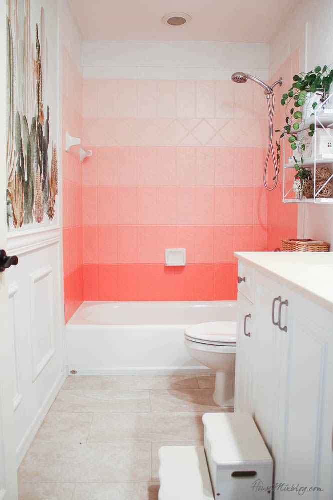 DIY painted pink ombré tile wall - Coral Gables - How to paint tile with oil-based enamel - Girls bathroom ideas-30