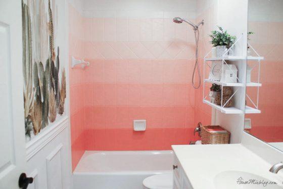 DIY painted coral ombré shower tile