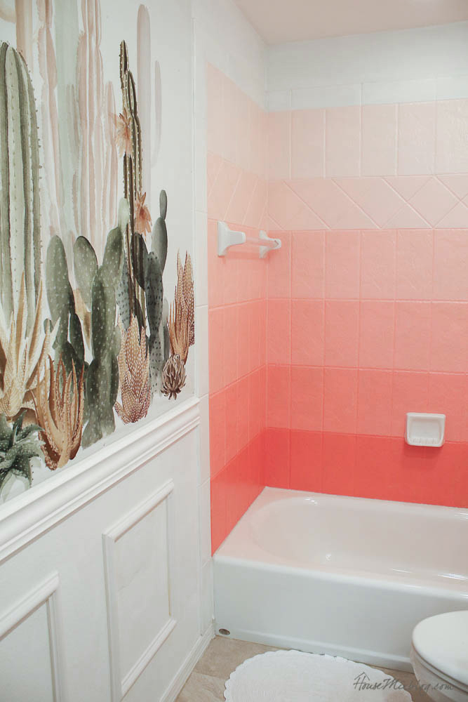 DIY painted pink ombré tile wall - Coral Gables - How to paint tile with oil-based enamel - Girls bathroom ideas-61