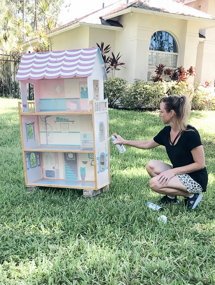 Doll house makeover with DIY Barbie furniture - flat primer spray paint