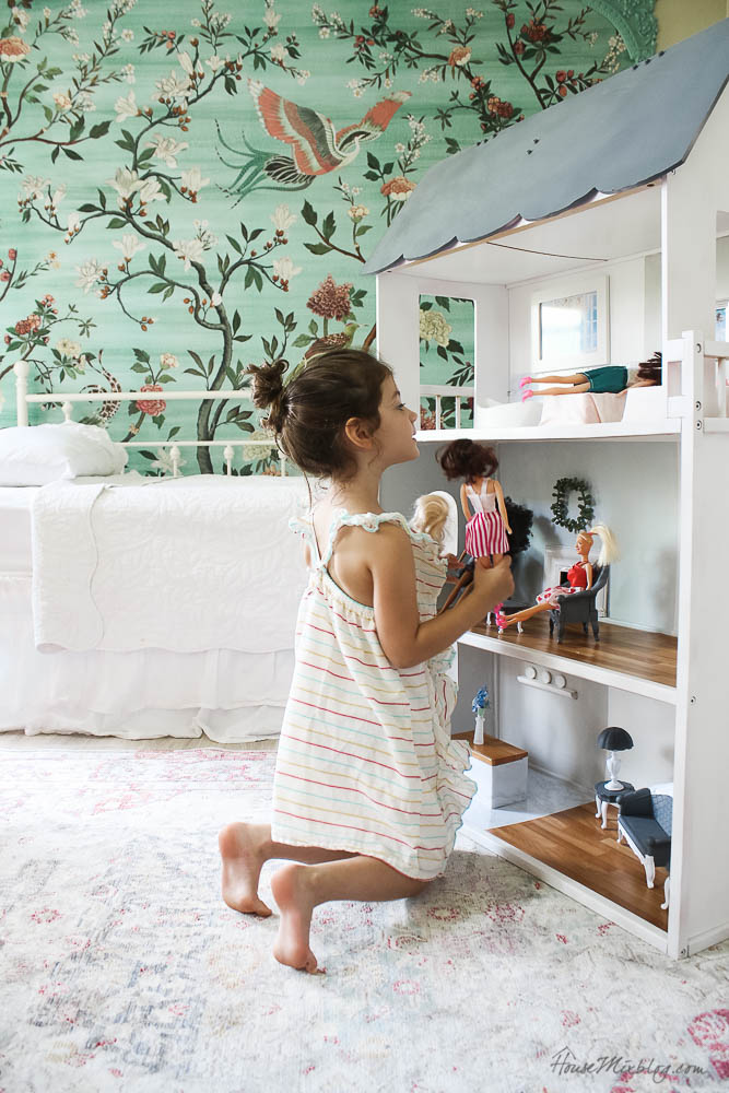 Doll house makeover with DIY Barbie furniture