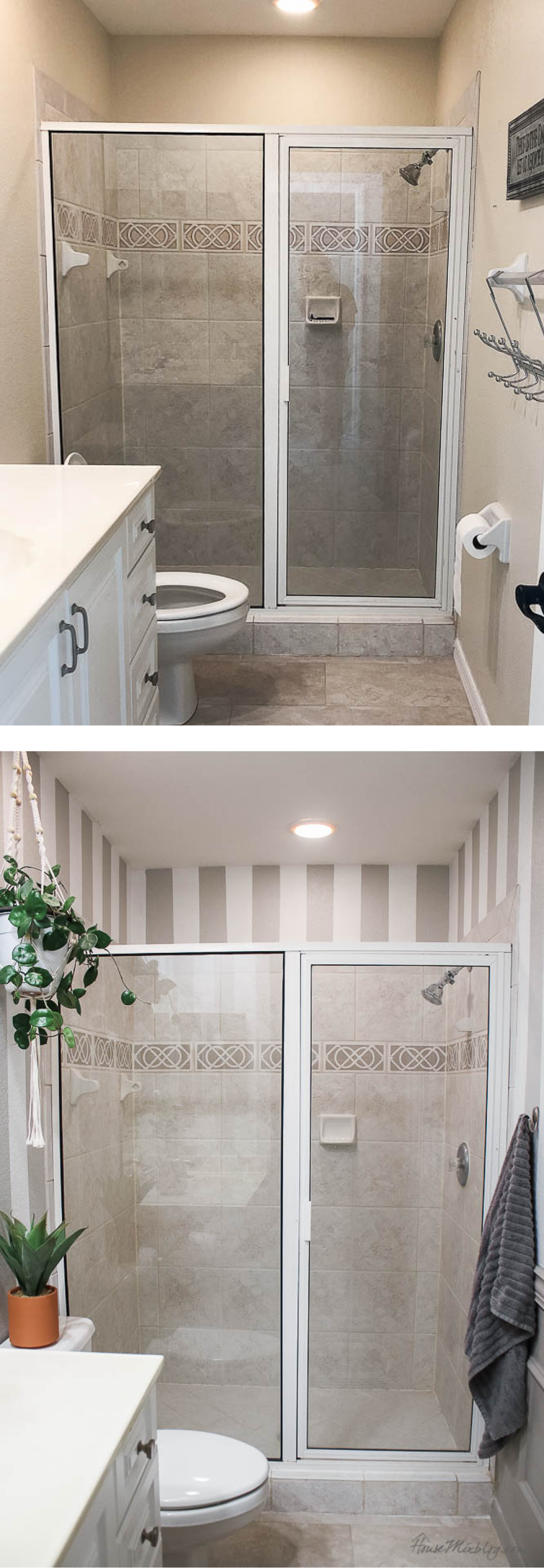 Before and after: Bathroom makeover with stripes, wainscoting and lots of paint