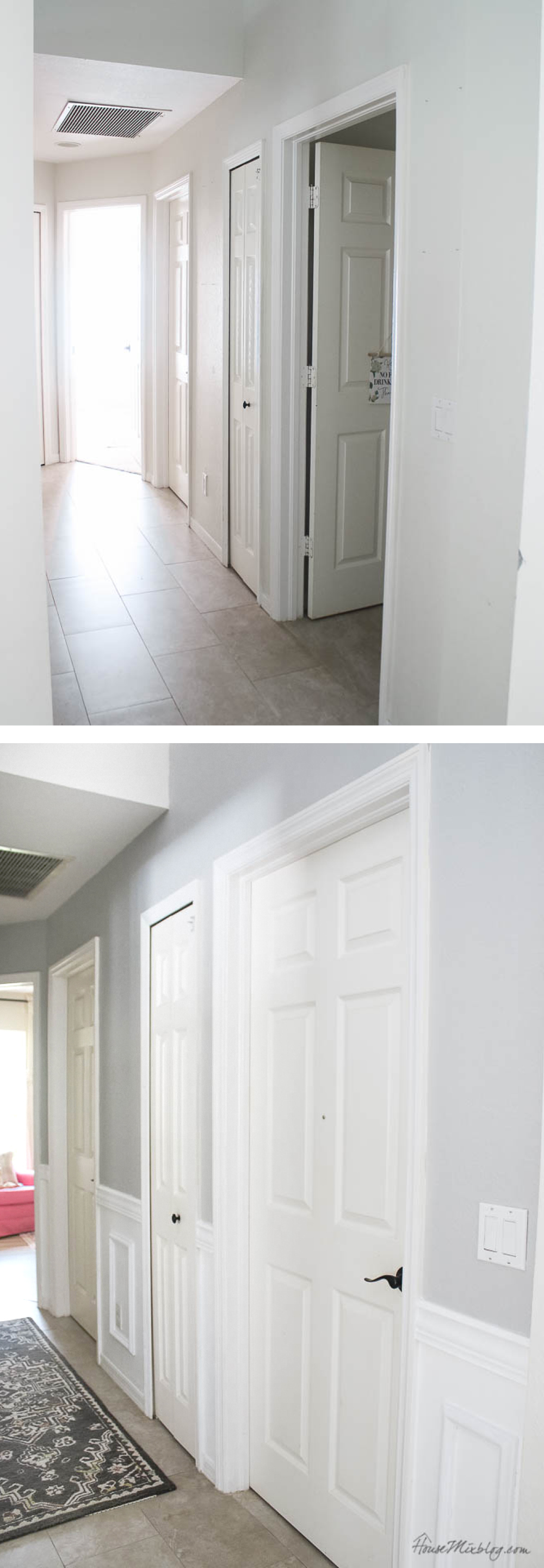 Before and after - the simplest wainscoting without power tools