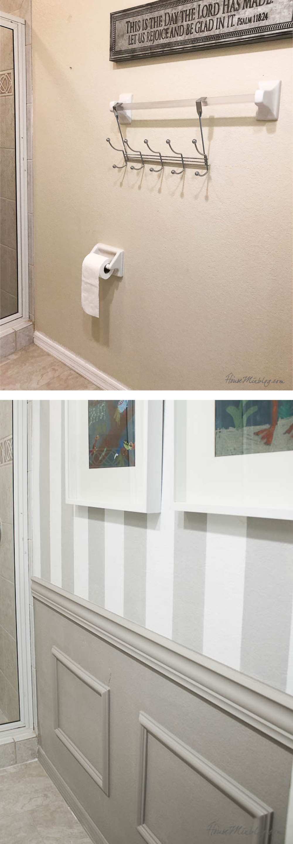 Before and after - the simplest wainscoting without power tools3