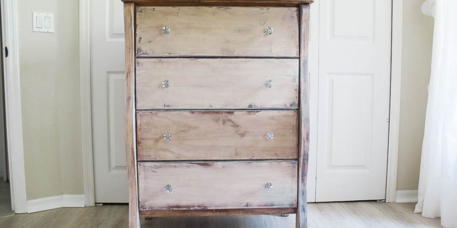 Dresser makeover with furniture stripper and liming wax
