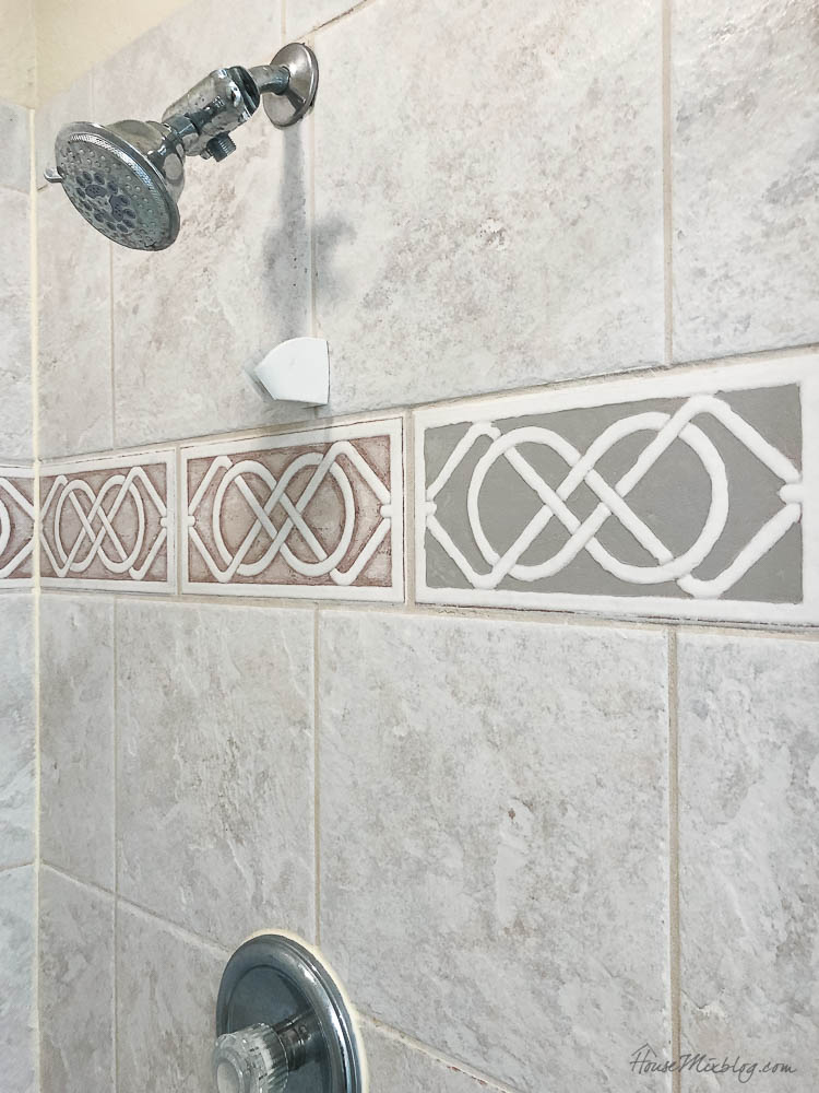 Painted shower accent tile - bathroom refesh