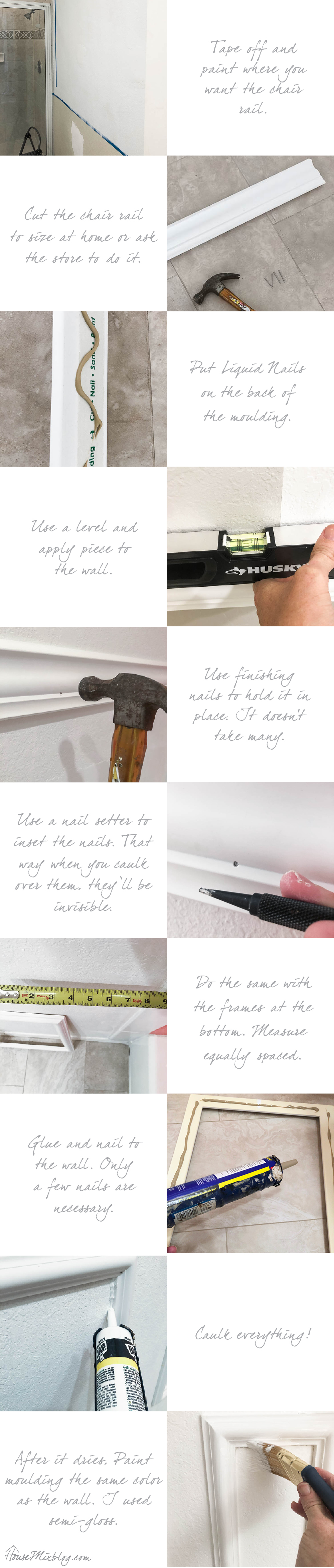 How to put up wainscoting chair rail and moulding - the easy way - DIY - tutorial