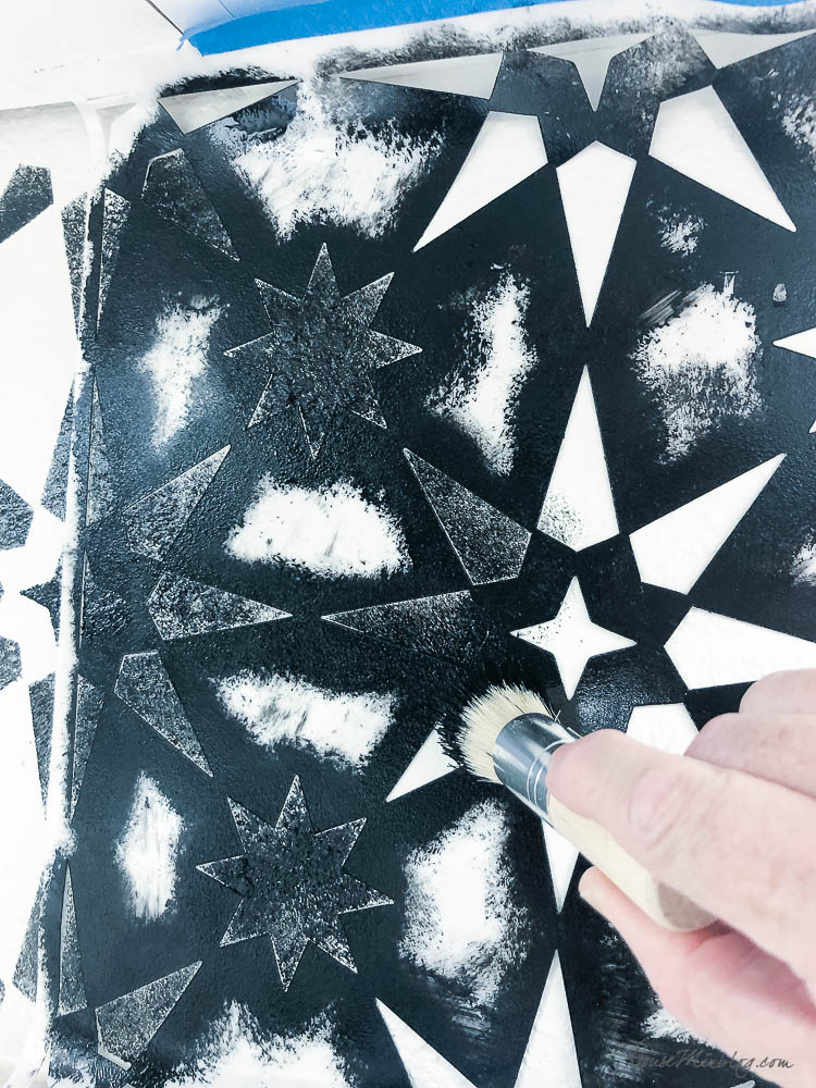 Stenciling kitchen wall to look like backsplash tile - jewel stars - black and white - how to stencil