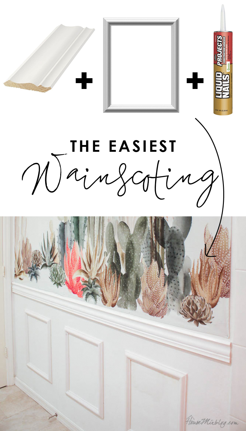 The easiest wainscoting - How to put up moulding for beginners