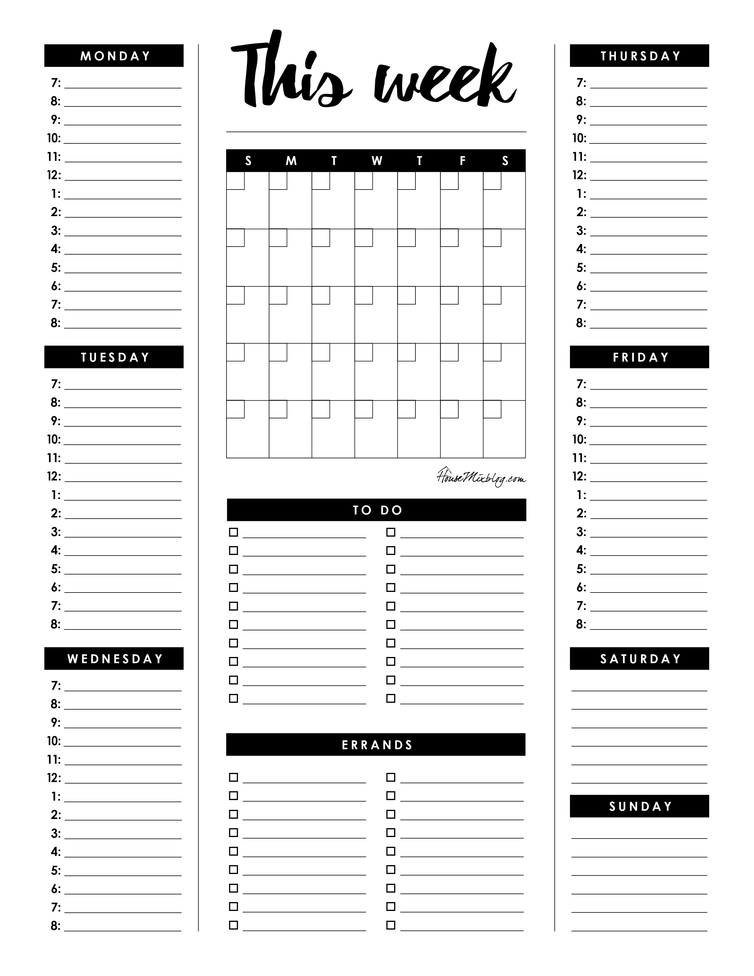 Weekly planner - month calendar, hourly itenerary, to do list and errands checklist