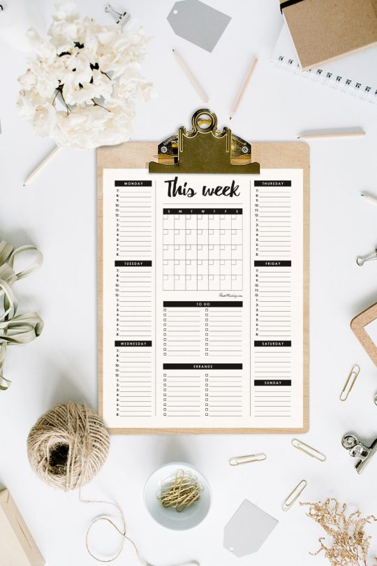 Weekly planner printable with time hour time blocking - monthly calendar - to do list and errand list - organizer