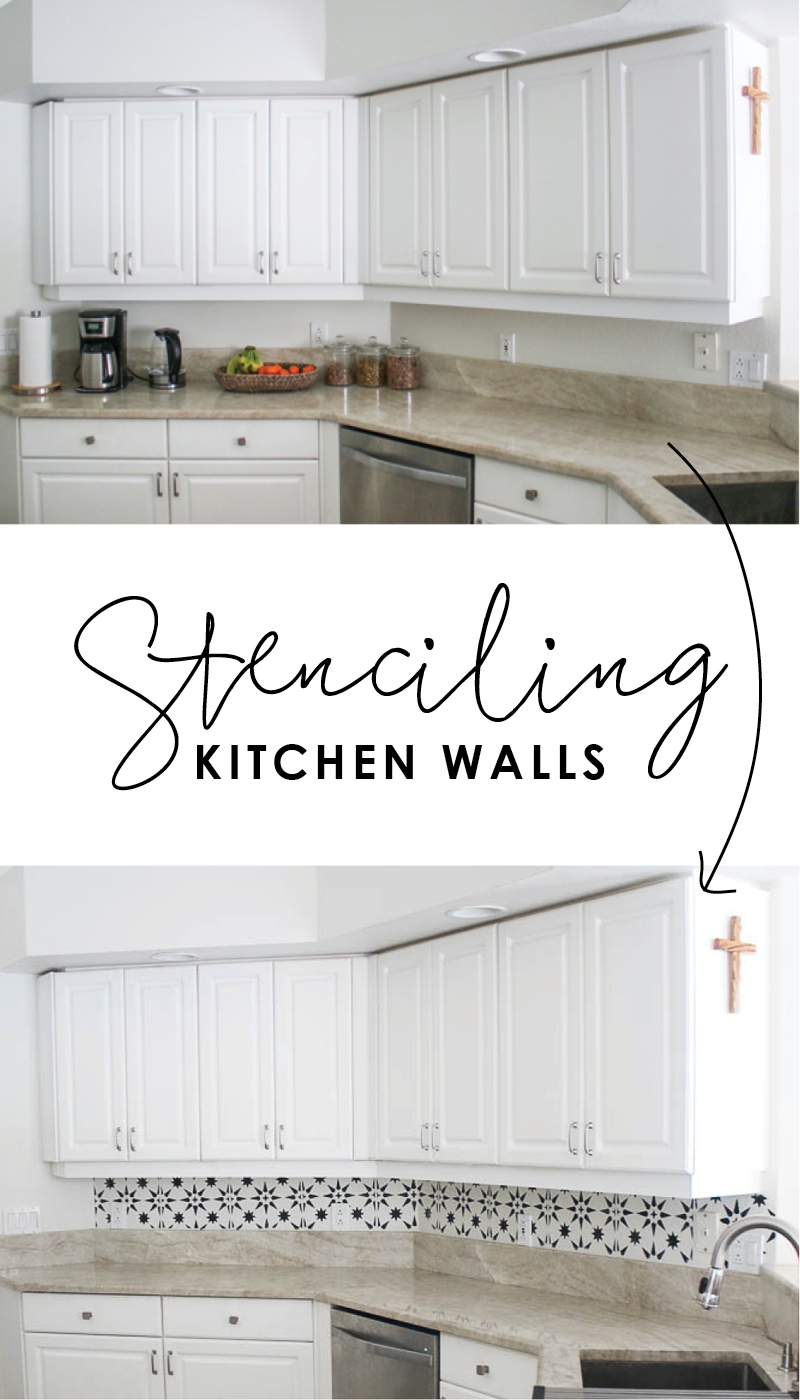 Stenciling kitchen wall to look like backsplash tile - jewel stars - black and white - how to stencil - jewel stars