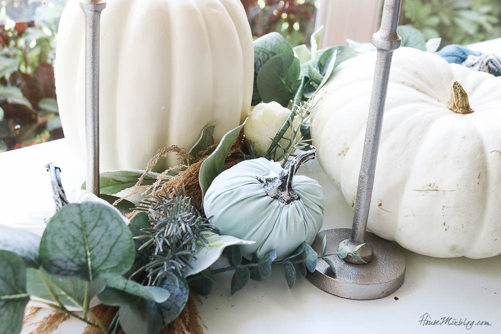 Neutral fall decor - green sage pumpkins silver candles pompas grass heirloom pumpkins thanksgiving table setting autumn