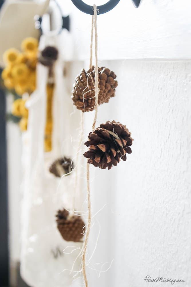 DIY fall decor - pinecones and twine garland
