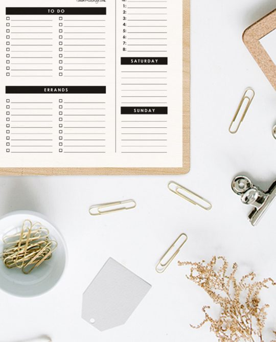 weekly planner printable - how to time block - to do and errands list