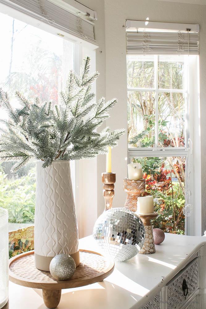 Christmas decor - blush and gold - holiday home tour - dining room holiday decor - wood tones, boho, disco ball, sparkles