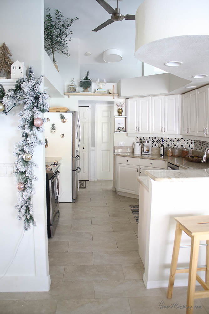 Christmas decor - blush and gold - holiday home tour - kitchen christmas decor ideas