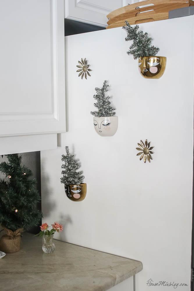 Christmas decor - blush and gold - holiday home tour - kitchen christmas decor ideas
