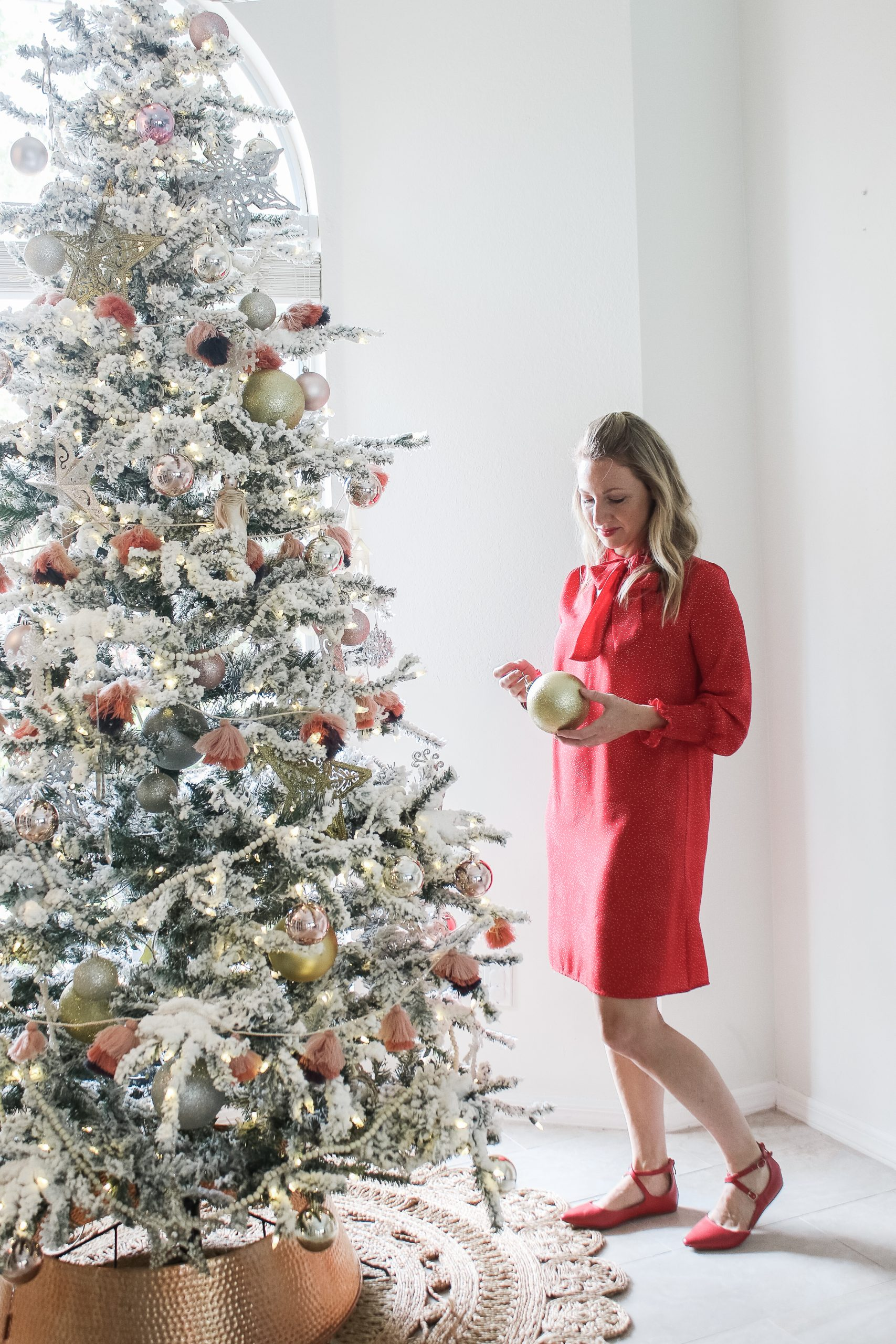 If She Loves red holiday dress with neck bow