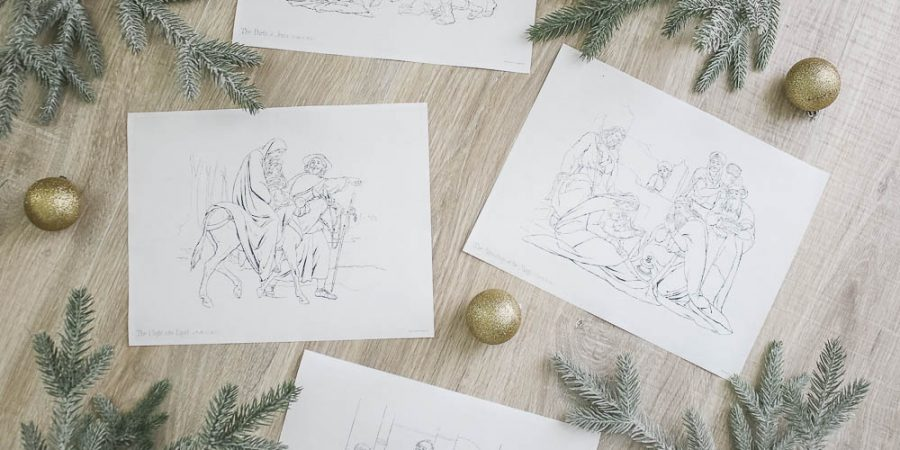 Free Christmas printables - holiday art - Jesus manger - cheap christmas decor