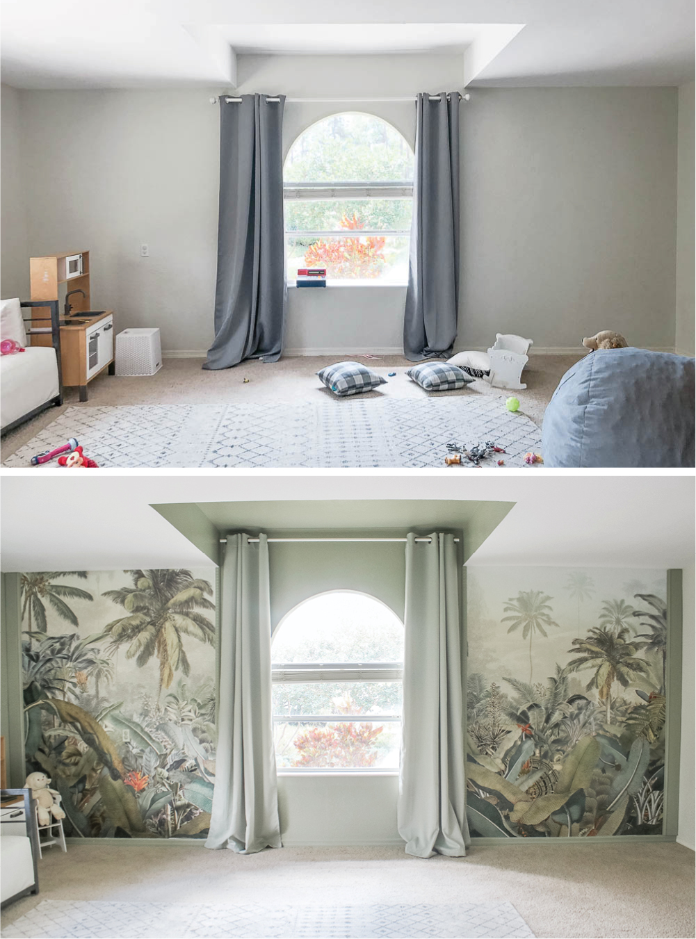 Before and after sage playroom with tropical palms mural